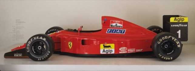 "John Barnard, Ferrari S.p.A. Maranello, Italy Formula 1 Racing Car (641/2). 1990. Honeycomb composite with carbon fibers, Kevlar and other materials, 40 1/2"" x 7' x 14' 6 1/2"" (102.9 x 213.4 x 448.3  cm). Donor: Ferrari North America."