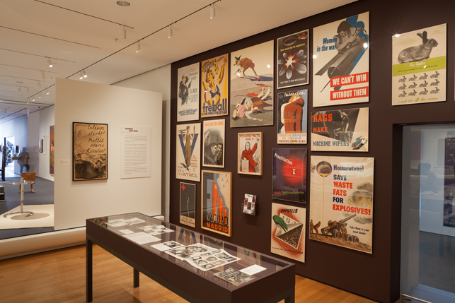 "Installation view of ""Women and War 1914–1945,"" on view in Designing Modern Women, from April 12 to September 21, 2014. © 2014 The Museum of Modern Art, New York. Photo: John Wronn"