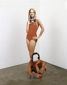 "Robert Heinecken. Cybill Shepherd/Phone Sex. 1992. Dye bleach print on foamcore, 63 × 17"" (160 × 43.2 cm). The Robert Heinecken Trust, Chicago; courtesy Petzel Gallery, New York. © 2014 The Robert Heinecken Trust"
