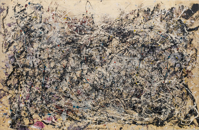 "Jackson Pollock. <i>Number 1A, 1948</i>. 1948. Oil and enamel paint on canvas, 68"" x 8' 8"" (172.7 x 264.2 cm). Purchase. © 2014 Pollock-Krasner Foundation/Artists Rights Society (ARS), New York"
