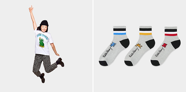 From left: UNIQLO Keith Haring Statue Of Liberty T-shirt; UNIQLO Keith Haring Socks