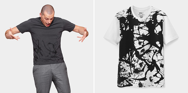 From left: UNIQLO Jackson Pollock Gray Splatter T-shirt; UNIQLO Jackson Pollock White Splatter T-shirt