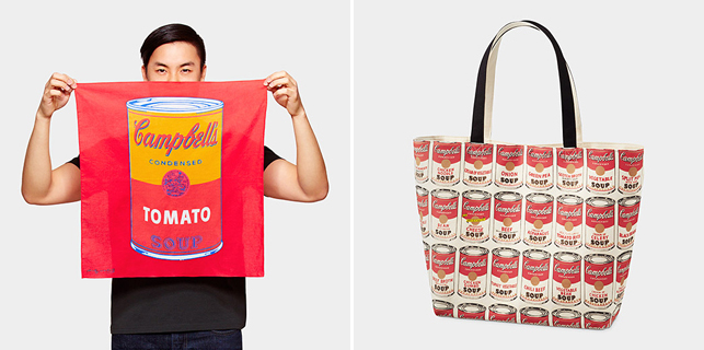 From left: UNIQLO Andy Warhol Soup Can Bandana; UNIQLO Andy Warhol Soup Can Tote Bag