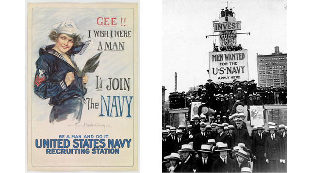 "Left: 2.Howard Chandler. Christy, Gee!! I Wish I Were a Man, 1917. Lithograph. Gift of Abby Aldrich Rockefeller, 1940. The Museum of Modern Art, New York; Right: Photo of ""yeomanettes"" taken in New York City, May 8, 1919. Collection Naval History & Heritage Command"