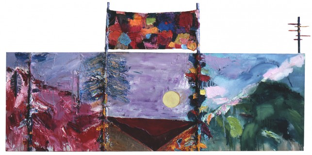 "Joan Snyder. Norfolk Landscape. 1978. Oil, acrylic, fabric, sticks on canvas, 24 x 72"" (61 x 182.9 cm). Private Collection"