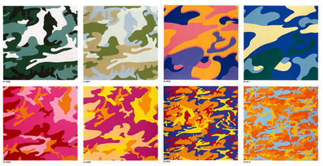 "Andy Warhol. Camouflage. 1987. Portfolio of eight screenprints, composition (each): 38 x 38"" (96.5 x 96.5 cm); sheet (each): 38 x 38"" (96.5 x 96.5 cm). Publisher:The artist. Printer: Rupert Jasen Smith, New York. Edition: 80 The Museum of Modern Art, New York. John B. Turner Fund. © 2014 Andy Warhol Foundation for the Visual Arts/Artists Rights Society (ARS), New York"