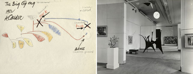 From left: Alexander Calder. The Big Gong. 1952. IC/IP, I.A.56. The Museum of Modern Art Archives; Installation view of Calder's The Big Gong (top) in Twelve Modern American Painters and Sculptors, Musée National