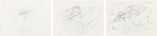 "John Barnard. John Barnard.  Sketch for Engine Intake of Formula 1 Car, #639. 1987. Pencil on paper, 11 3/4 x 16 5/8"" (29.8 x 42.3 cm). Gift of John Barnard. From left: Sketch for Engine Intake of Formula 1 Car, #639; Sketch for body joints of Formula 1 car, Model #639; Sketch for Radiator Inset, Joint of Formula 1 Car, Model No. 639. All by John Barnard. 1987. Pencil on paper, 11 3/4 x 16 5/8"" (29.8 x 42.3 cm). Gift of John Barnard. All photos: John Wronn"