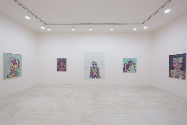 Installation view of Maria Lassnig at MoMA PS1, 2014. © 2014 MoMA PS1; Photo Matthew Septimus