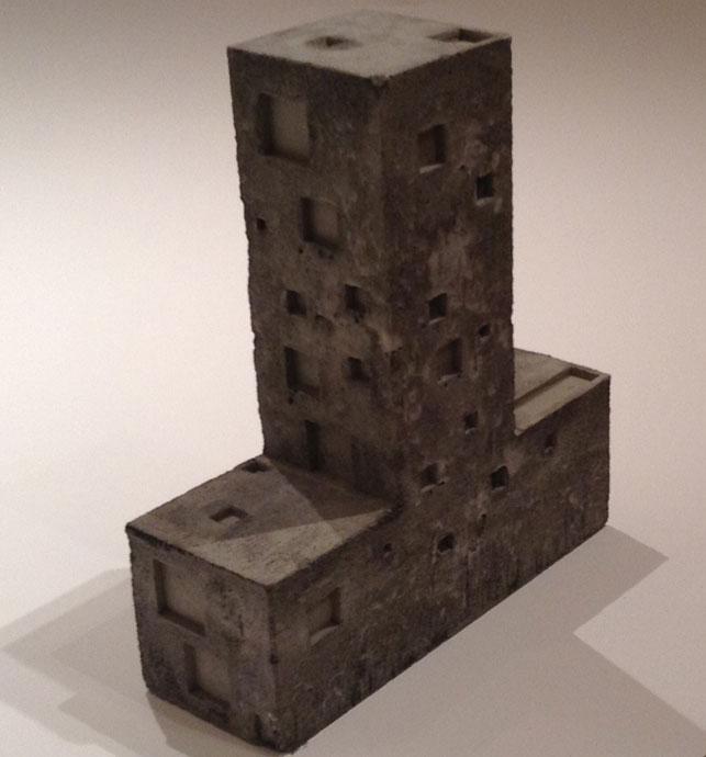 """Pezo von Ellrichshausen, Mauricio Pezo, Sófia von Ellrichshausen. Cien House, Concepción, Chile. 2009–11. Concrete model, 14 × 14 × 5"""" (35.6 × 35.6 × 12.7 cm). Photo: Pamela Popeson"""