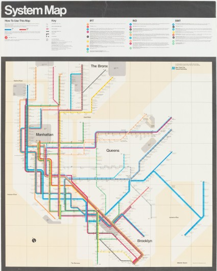 "Massimo Vignelli. New York Subway Diagram. 1970. Lithograph, 59 x 46 3/4"" (149.9 x 118.7 cm). Gift of the designer. © 2014 Massimo Vignelli"
