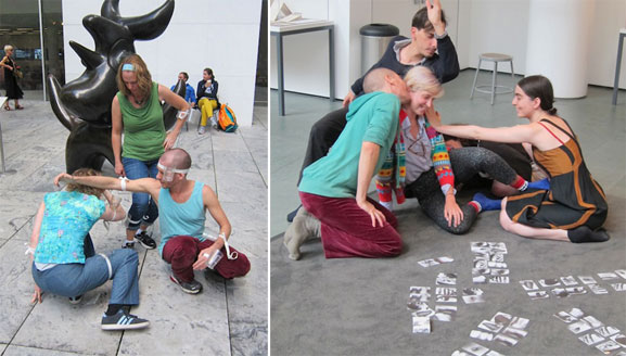 From left: Playing Polvo with Michel Groisman at MoMA Studio: Breathe with Me; Playing Sirva-Se in MoMA's Sculpture Garden with Michel Groisman. Photos by Sarah Kennedy