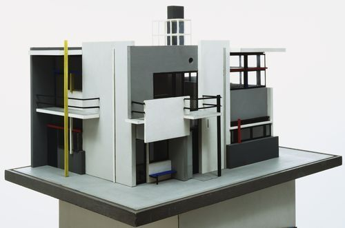 "Gerrit Rietveld with Mrs. Truus Schröder-Schräder. Schröder House, Utrecht, The Netherlands. 1924. Wood and paint, 19 x 30 3/16 x 21 3/16"" (48.3 x 76.7 x 53.8 cm). Model Maker: Gerard van de Groenekan. The Museum of Modern Art, New York. Gift of Mrs. Phyllis B. Lambert. © 2014 Artists Rights Society (ARS)"