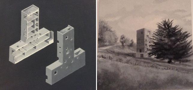 "From left: Pezo von Ellrichshausen, Mauricio Pezo, Sófia von Ellrichshausen. Cien House, Concepción, Chile. 2009–11. Oil on canvas, 12 × 12 × 1"" (30.5 × 30.5 × 2.5 cm); Pezo von Ellrichshausen, Mauricio Pezo, Sófia von Ellrichshausen. Cien House, Concepción, Chile. 2009–11. Cien House, Concepción, Chile. Oil on canvas, 12 × 12 × 1"" (30.5 × 30.5 × 2.5 cm). Photos: Pamela Popeson"