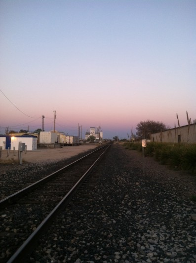 Sunset over the Marfa train tracks
