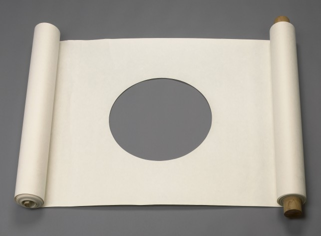 "James Lee Byars. Untitled (Performable Scroll). ca. 1967. Paper, wood, 35 3/4 x 1195"" (91 x 3035 cm). Courtesy Michael Werner Gallery, New York and London"