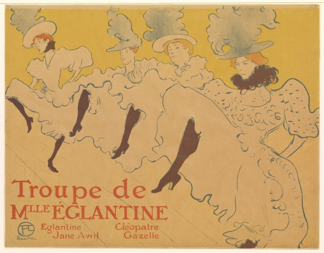 Henri de Toulouse-Lautrec. La Troupe de Mademoiselle Églantine (Mademoiselle Églantine's Troupe). 1896. Lithograph. The Museum of Modern Art, New York. Gift of Abby Aldrich Rockefeller, 1940
