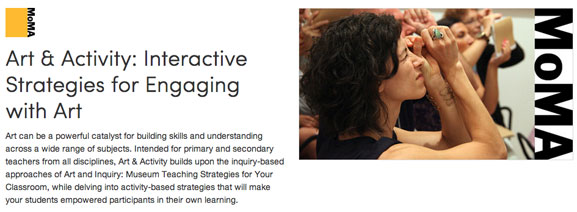 Screen shot of the Art & Activity course landing page
