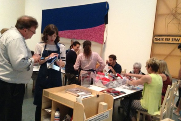 MoMA visitors participate in a Polke Pop-Up Activity
