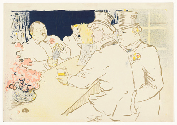 "Henri de Toulouse-Lautrec. Irish American Bar, Rue Royale. 1895. Lithograph, composition: 16 1/8 × 24 5/16"" (41 × 61.7 cm); sheet: 16 15/16 × 24 5/16"" (43.1 × 61.7 cm). The Museum of Modern Art, New York. Gift of Abby Aldrich Rockefeller"