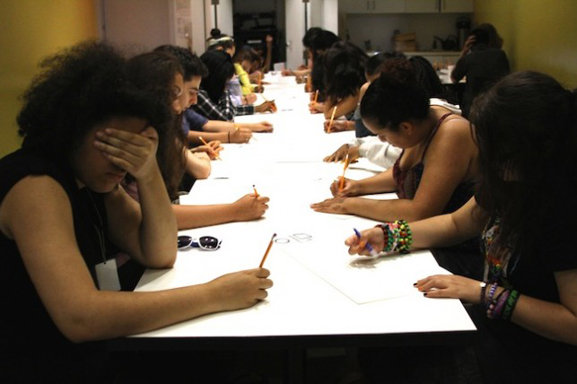 "MoMA teens drawing self-portraits ""under the influence"""