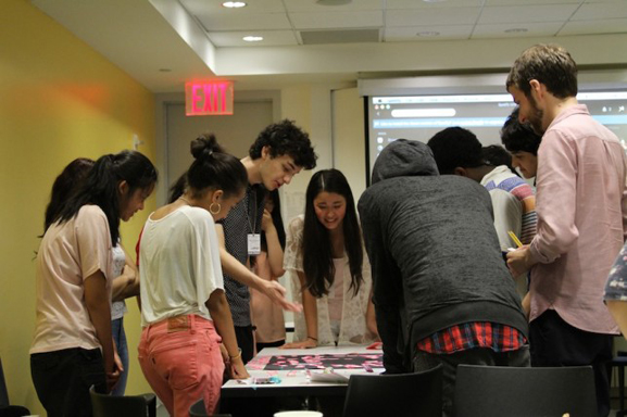 Participants putting together our dream and inspiration words with guest artist Eli Dvorkin