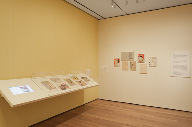 Theater programs designed by Toulouse-Lautrec and others installed in the exhibition The Paris of Toulouse-Lautrec: Prints and Posters