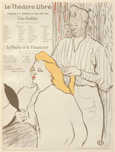 Henri de Toulouse-Lautrec. The Hairdresser (La Coiffure), program for Bankruptcy (Une Faillite) and The Poet and the Financier (Le Poète et le financier) at the Théâtre Libre, Paris. 1893. Lithograph, sheet: 12 5/8 x 9 3/4 in. (32 x 24.7 cm). Edition size: probably several hundred. The Museum of Modern Art, New York. Johanna and Leslie J. Garfield Fund, Mary Ellen Oldenburg Fund, and Sharon P. Rockefeller Fund, 2008
