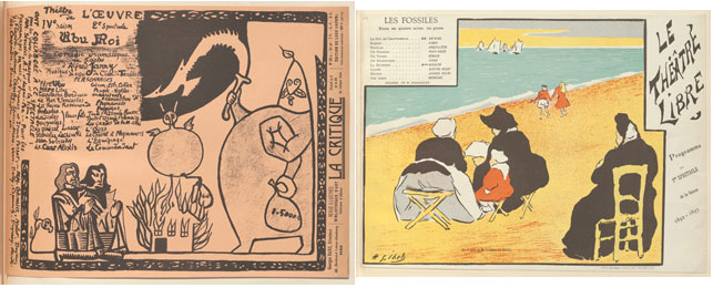 Left: Alfred Jarry. Program for King Ubu (Ubu Roi) at the Théâtre de l'Oeuvre, Paris. 1896. Lithograph, sheet: 9 11/16 x 12 11/16 in. (24.6 x 32.3 cm). The Museum of Modern Art, New York. Johanna and Leslie J. Garfield Fund, Mary Ellen Oldenburg Fund, and Sharon P. Rockefeller Fund, 2008; right: Henri-Gabriel Ibels. Program for The Fossils (Les Fossiles) at the Théatre Libre, Paris. 1892. Lithograph, sheet: 9 3/8 x 12 11/6 in. (23.8 x 32.2 cm). The Museum of Modern Art, New York. Johanna and Leslie J. Garfield Fund, Mary Ellen Oldenburg Fund, and Sharon P. Rockefeller Fund, 2008