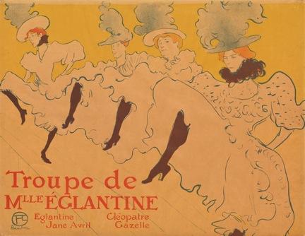 """Henri de Toulouse-Lautrec. Miss Eglantine's Troupe (La Troupe de Mademoiselle Eglantine). 1896. Lithograph. Sheet: 24 1/4 x 31 1/4"""" (61.6 x 79.4 cm). The Museum of Modern Art, New York. Gift of Abby Aldrich Rockefeller"""