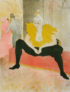 "Henri de Toulouse-Lautrec. Seated Clowness (Mademoiselle Cha-u-ka-o) (La Clownesse assise) from Elles. 1896. Sheet: 20 7/8 × 15 13/16"" (53 × 40.2 cm).  One from a portfolio of twelve lithographs. The Museum of Modern Art, New York. Gift of Abby Aldrich Rockefeller"