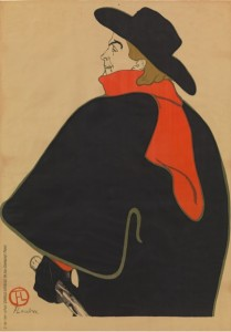"Henri de Toulouse-Lautrec. Aristide Bruant in his Cabaret (Aristide Bruant dans son cabaret). 1893. Lithograph. Sheet: 53 3/4 x 37 15/16"" (136 x 96.3 cm). The Museum of Modern Art, New York. Gift of Emilio Sanchez"