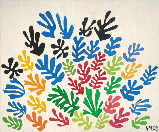 """Henri Matisse (French, 1869-1954). The Sheaf (La Gerbe), 1953. Maquette for ceramic (realized 1953). Gouache on paper, cut and pasted, on paper, mounted on canvas. 115 ¾ x 137 ¾"""" (294 x 350 cm). Collection University of California, Los Angeles. Hammer Museum. Gift of Mr. and Mrs. Sidney F. Brody. © 2014 Succession H. Matisse/Artists Rights Society (ARS), New York"""