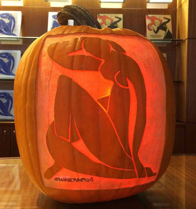 Maniac Pumpkin Carvers' Halloween re-creation of Henri Matisse's Blue Nude sits in the MoMA film lobby