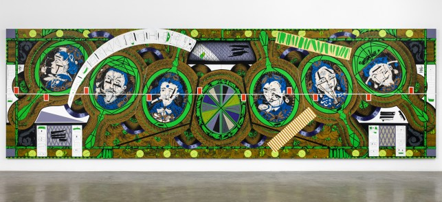 "Lari Pittman. Flying Carpet with Magic Mirrors for a Distorted Nation. 2013. Cel-vinyl, spray enamel on canvas over wood panel, 108 x 360 1/8"" (274.3 x 914.7 cm). The Museum of Modern Art, New York. CREDIT LINE TK. Courtesy Regen Projects, Los Angeles. © Lari Pittman"