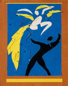 "Henri Matisse. Two Dancers (Deux danseurs). 1937–38. Stage curtain design for the ballet Rouge et Noir. Gouache on paper, cut and pasted, notebook papers, pencil, and thumbtacks, 31 9/16 x 25 3/8"" (80.2 x 64.5 cm). Musée national d'art moderne/Centre de création industrielle, Centre Georges Pompidou, Paris. Dation, 1991. © 2014 Succession H. Matisse / Artists Rights Society (ARS), New York"