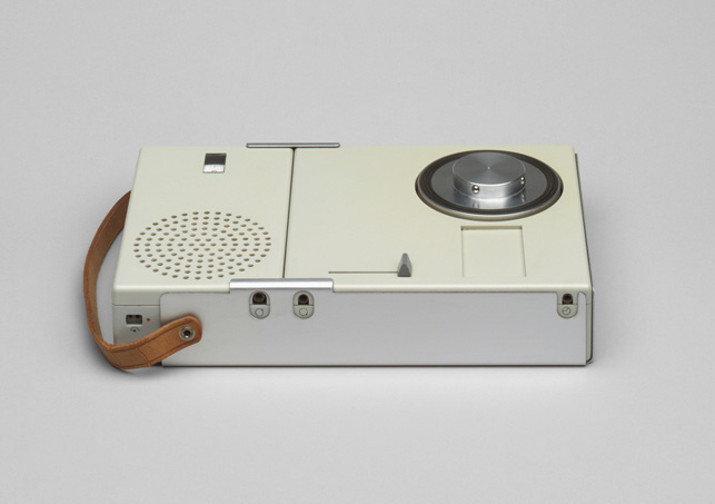 Dieter Rams. Portable Transistor Radio and Phonograph (model TP 1) (shown closed). 1959. Plastic casing, aluminum frame, and leather strap, 1 3/4 X 9 1/4 X 6″. Gift of the manufacturer
