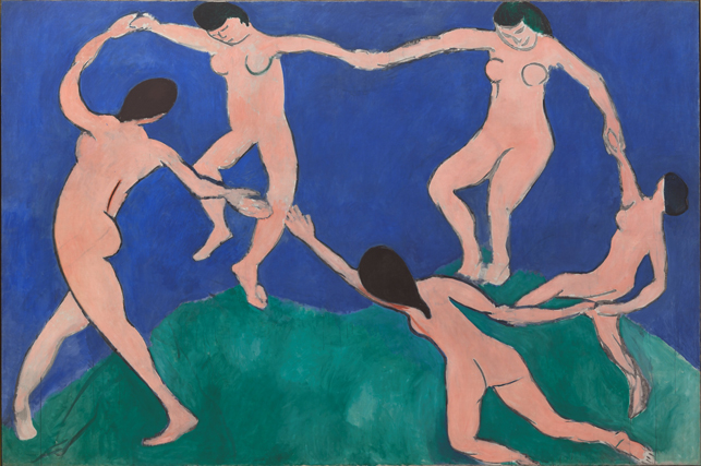 Henri Matisse. Dance (I). Paris, Boulevard des Invalides, early 1909. Oil on canvas, 8′ 6 1/2″ x 12′ 9 1/2″ (259.7 x 390.1 cm). The Museum of Modern Art, New York. Gift of Nelson A. Rockefeller in honor of Alfred H. Barr, Jr. © 2014 Succession H. Matisse/Artists Rights Society (ARS), New York