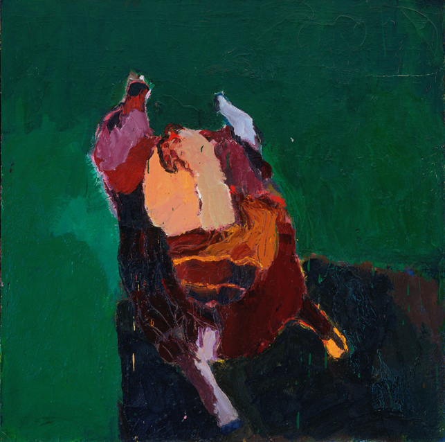 "Joan Brown. Thanksgiving Turkey. 1959. Oil on canvas, 47 7/8 x 47 7/8"" (121.5 x 121.5 cm). The Museum of Modern Art, New York. Larry Aldrich Foundation Fund"