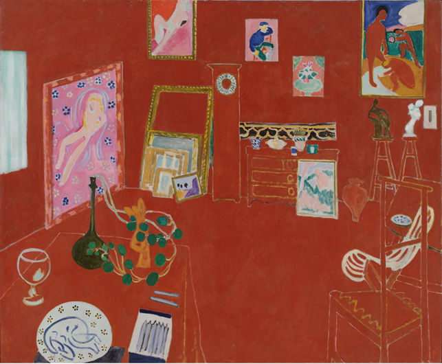 "Henri Matisse. The Red Studio. Issy-les-Moulineaux, fall 1911. Oil on canvas, 71 1/4"" x 7' 2 1/4"" (181 x 219.1 cm). The Museum of Modern Art, New York. Mrs. Simon Guggenheim Fund. © 2014 Succession H. Matisse/Artists Rights Society (ARS), New York"