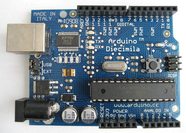 "Massimo Banzi, David Cuartielles, Tom Igoe, David Mellis, Gianluca Martino. Arduino ""Diecimila"" Microcontroller. 2004–05. Electronic components, 2.7 x 2.1"" (5.3 x 6.9 cm). Gift of the designers"