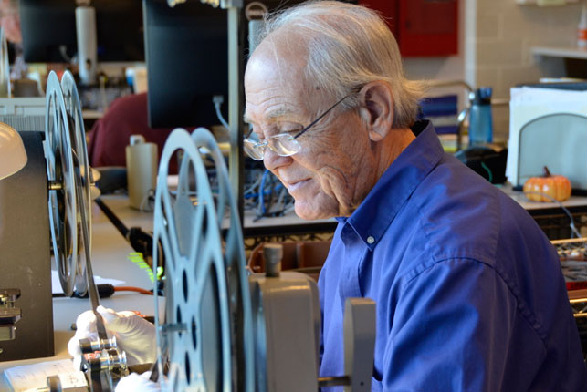 Art Wehrhahn at work in The Celeste Bartos Film Preservation Center in Hamlin, PA. Photo: Mary Keene
