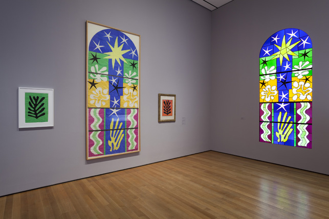 Installation view of Henri Matisse: The Cut-Outs at The Museum of Modern Art, New York (October 12, 2014-February 8, 2015). Photo by Jonathan Muzikar. © 2014 The Museum of Modern Art