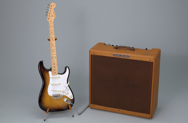 Leo Fender, George Fullerton, Freddie Tavares. Left: Fender Stratocaster Electric Guitar. Designed 1954, this example 1957. Wood, metal, and plastic. Right: Fender Bassman amplifier. 1959. Wood, metal, and plastic. Committee on Architecture and Design Funds