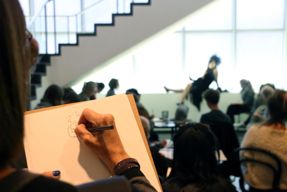 Sketching from Life drawing sessions at MoMA inspired by The Paris of Toulouse-Lautrec: Prints and Posters. All photos by Manuel Molina Martagon. © 2015 The Museum of Modern Art, New York