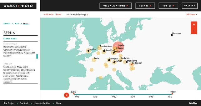 A screen grab of the Object:Photo website showing a map of selected events in László Moholy-Nagy's life