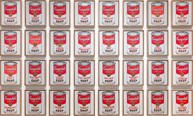 "Andy Warhol. Campbell's Soup Cans. 1962. Synthetic polymer paint on thirty-two canvases, each canvas: 20 x 16"" (50.8 x 40.6 cm). The Museum of Modern Art, New York. Partial gift of Irving Blum. Additional funding provided by Nelson A. Rockefeller Bequest, gift of Mr. and Mrs. William A. M. Burden, Abby Aldrich Rockefeller Fund, gift of Nina and Gordon Bunshaft in honor of Henry Moore, Lillie P. Bliss Bequest, Philip Johnson Fund, Frances R. Keech Bequest, gift of Mrs. Bliss Parkinson, and Florence B. Wesley Bequest (all by exchange), 1996. ©2015 Andy Warhol Foundation/ARS, NY/TM Licensed by Campbell's Soup Co. All rights reserved"