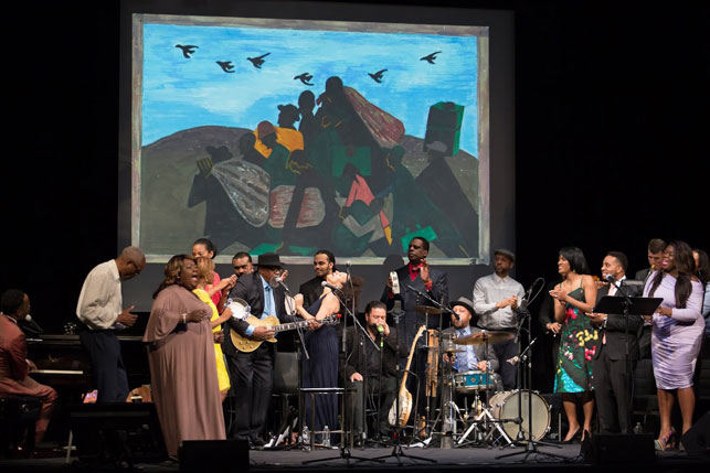 The full lineup of Migration Rhapsody: An Aleatoric Exploration of the Journey North through Music, Poetry, and Personal Narrative, The Museum of Modern Art, April 23, 2015. Photo: Julieta Cervantes