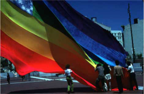 The Original 8-color Rainbow Flag, San Francisco United Nations Plaza, June 25, 1978. Photo: James McNamara. Courtesy of the artist