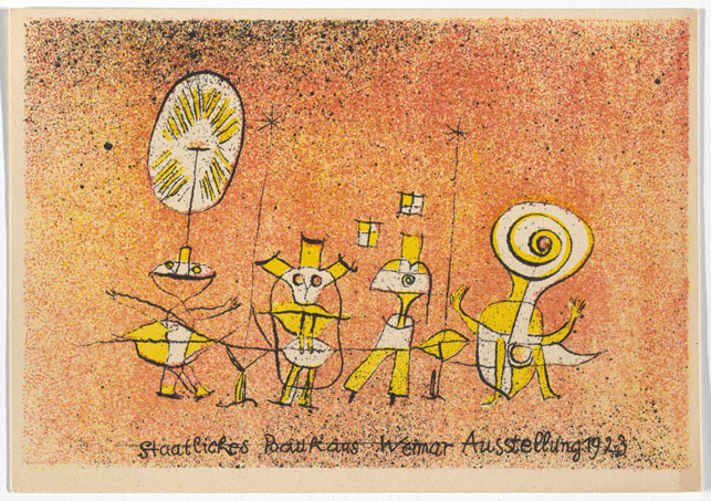 "Paul Klee. Bauhaus Ausstellung Weimar Juli–Sept, 1923, Karte 5. 1923. Lithograph, 3 15/16 x 5 7/8  "" (10 × 15 cm). Committee on Architecture and Design Funds. Photo: John Wronn"